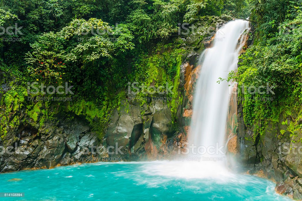 Costa Rica Nature Background Travel Destinations Rio Celeste stock photo