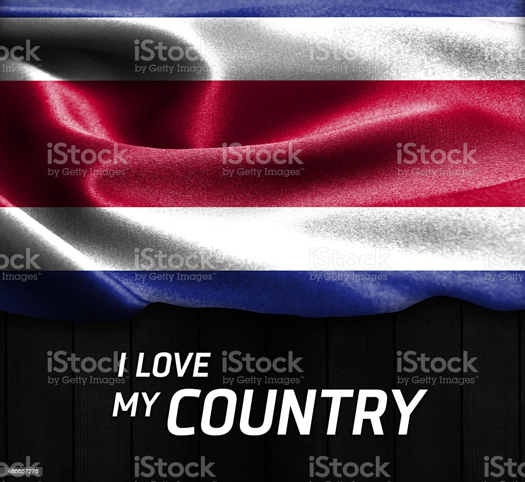 Costa Rica waving flag. I Love My Country Text stock photo
