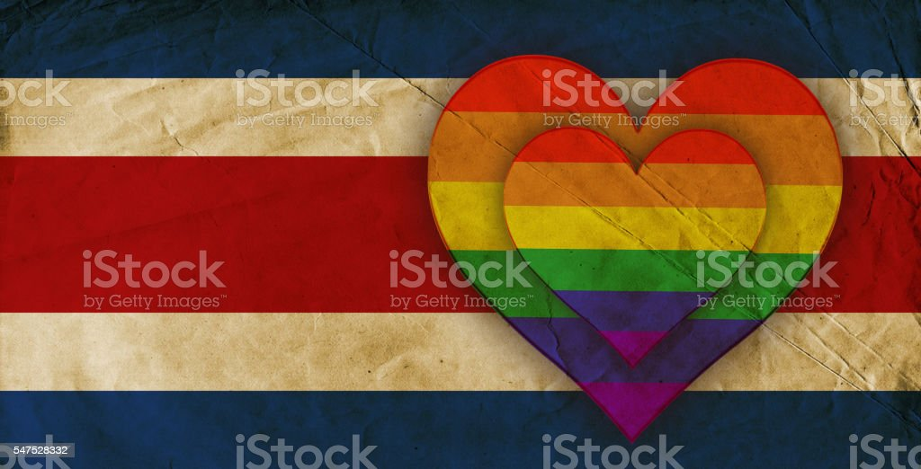 Costa Rican and Gay Pride Rainbow Flag stock photo