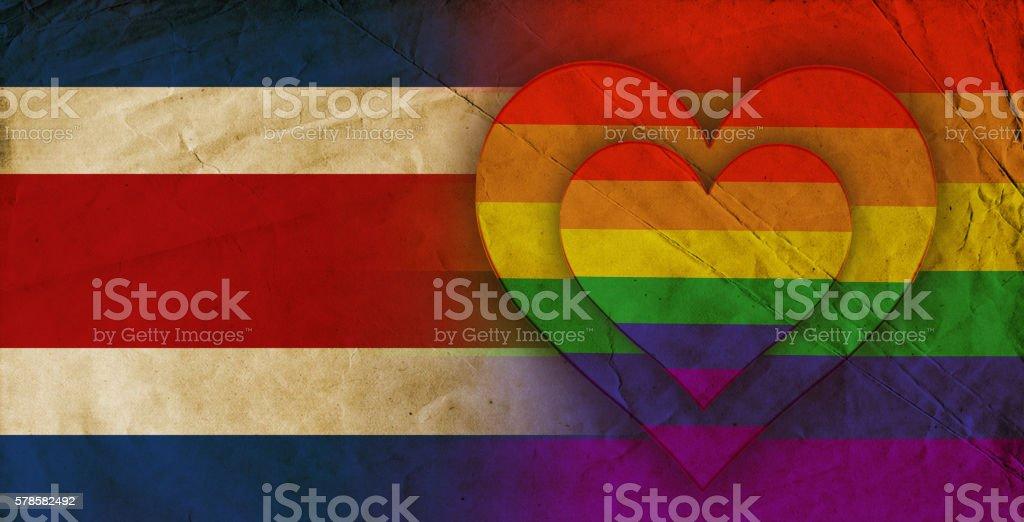 Costa Rican and rainbow flag stock photo