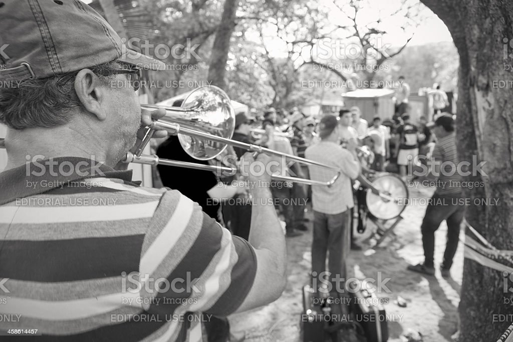Costa Rican brass band at a tope. stock photo