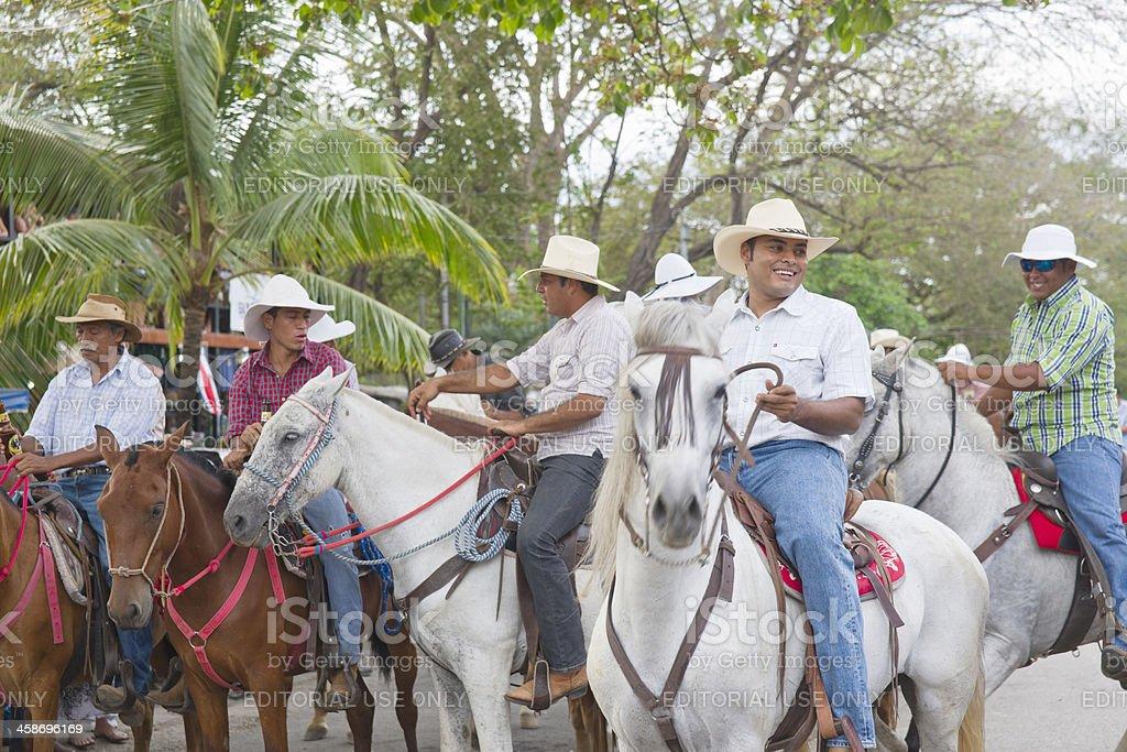 Costa Rican cowboys downtown Playas del Coco stock photo