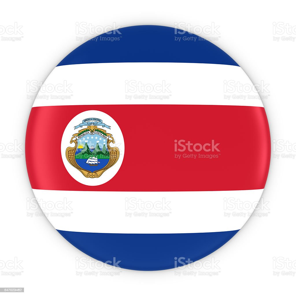 Costa Rican Flag Button - Flag of Costa Rica Badge stock photo