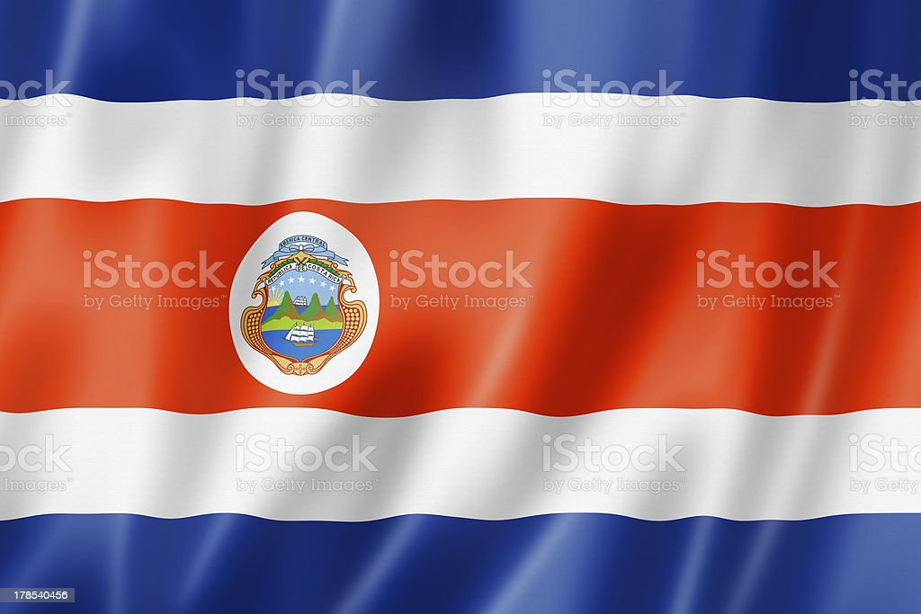 Costa Rican flag royalty-free stock photo
