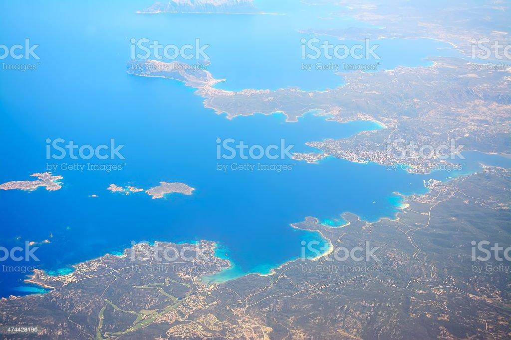 Costa Smeralda shoreline seen from above stock photo