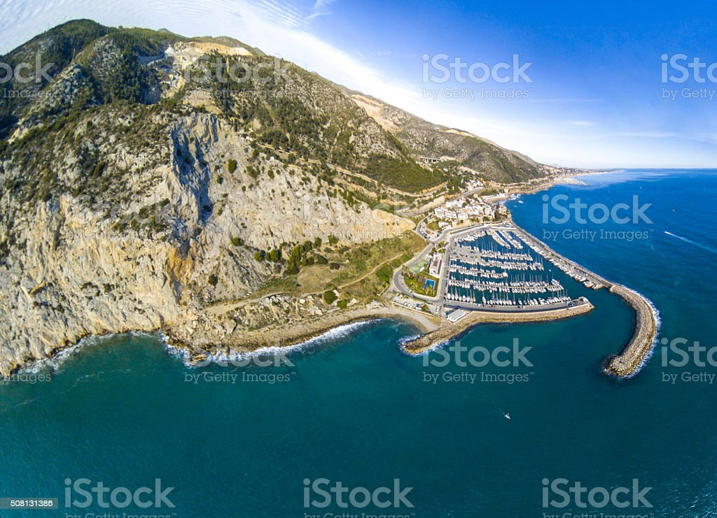 costas del garraf spain sea coast aerial view port stock photo
