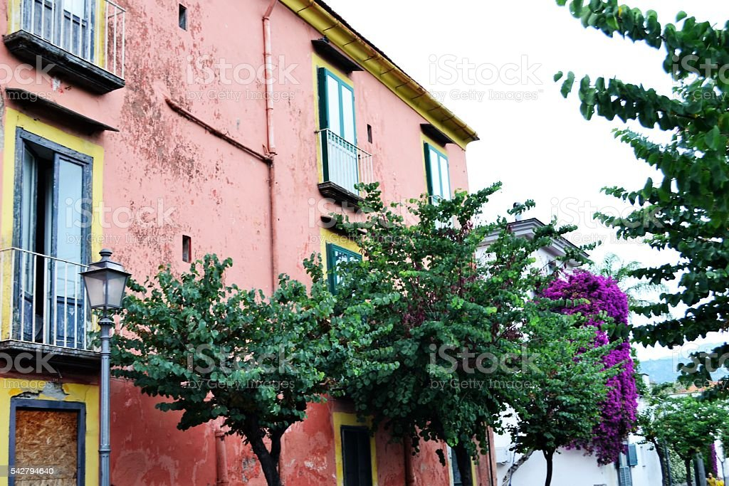 Costiera amalfitana, colored building stock photo