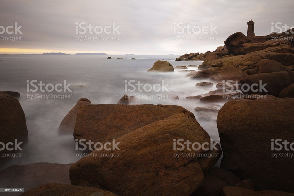 Costline and Lighthouse at Perros-Guirec stock photo