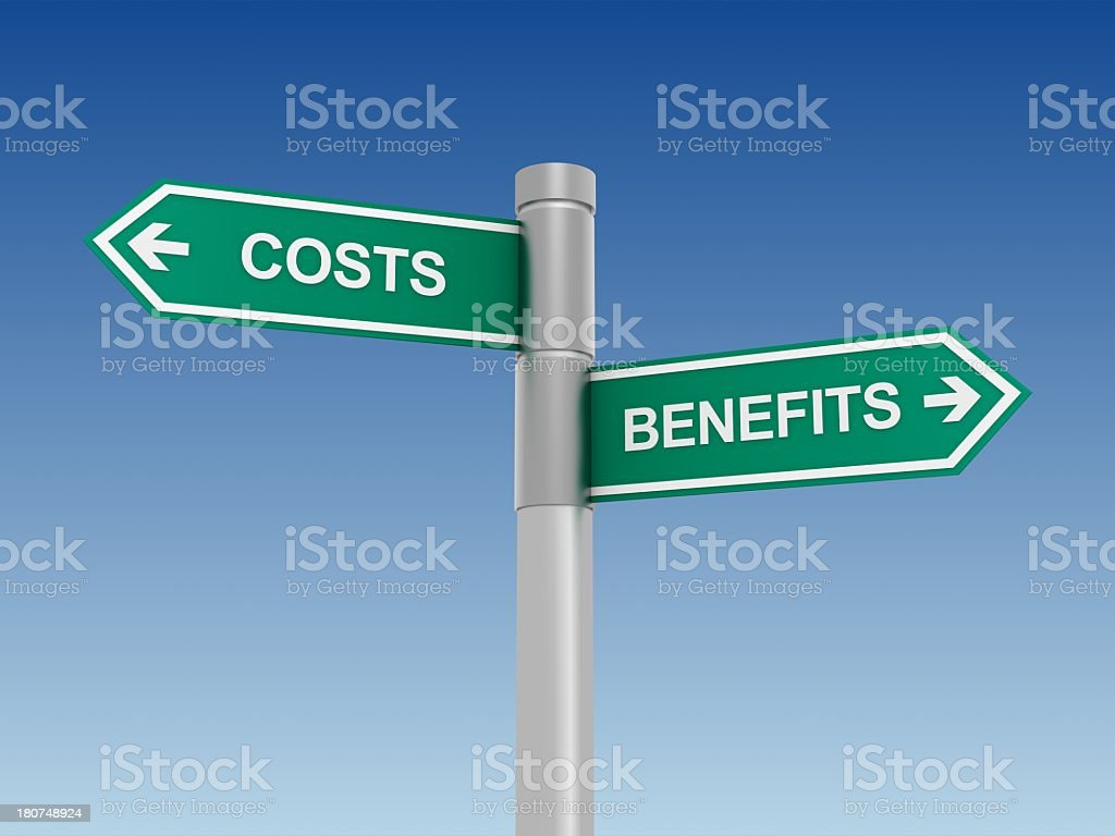 Costs and Benefits Sign royalty-free stock photo