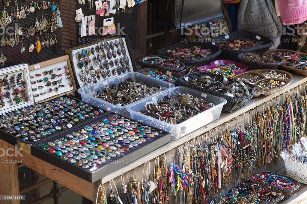 Costume jewellery stall stock photo