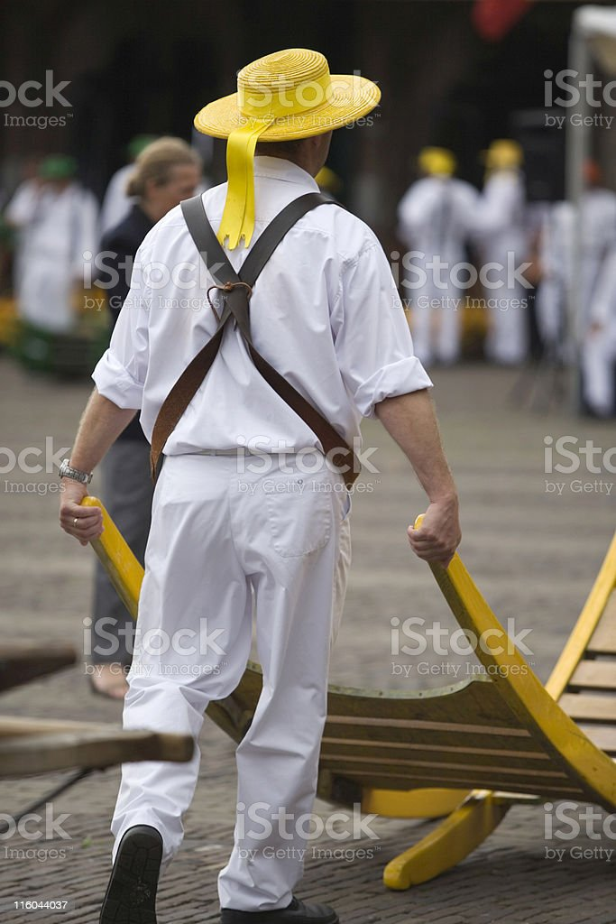 costume of a carrier at the Alkmaar cheese market royalty-free stock photo