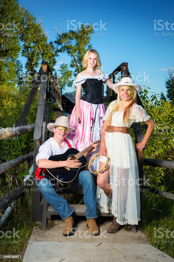 Costumed country band stock photo