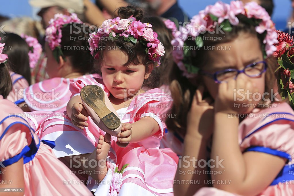 Costumed Girls at Madeira Flower Festival Parade, Portugal stock photo