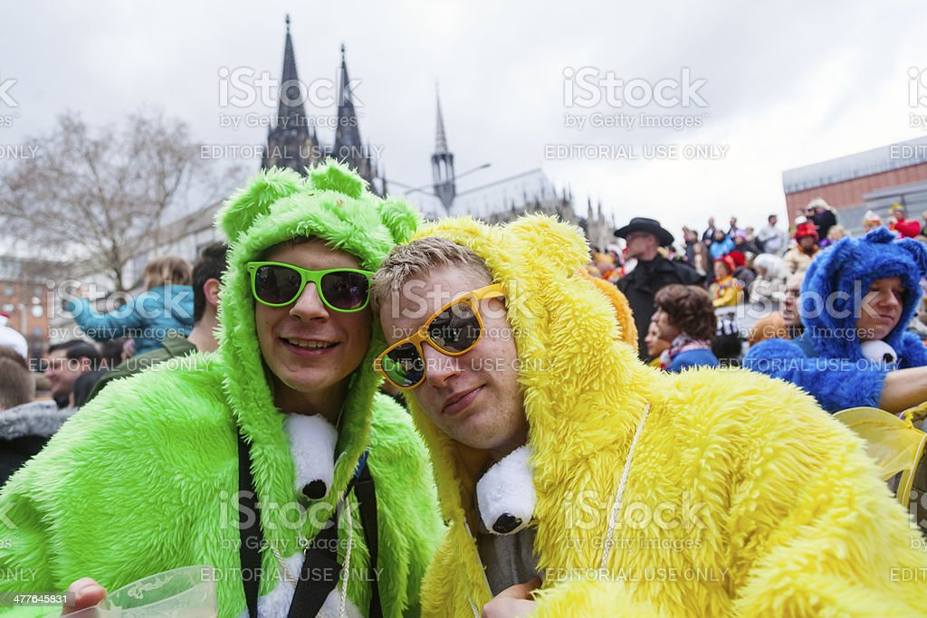 costumed people celebrating carnival stock photo