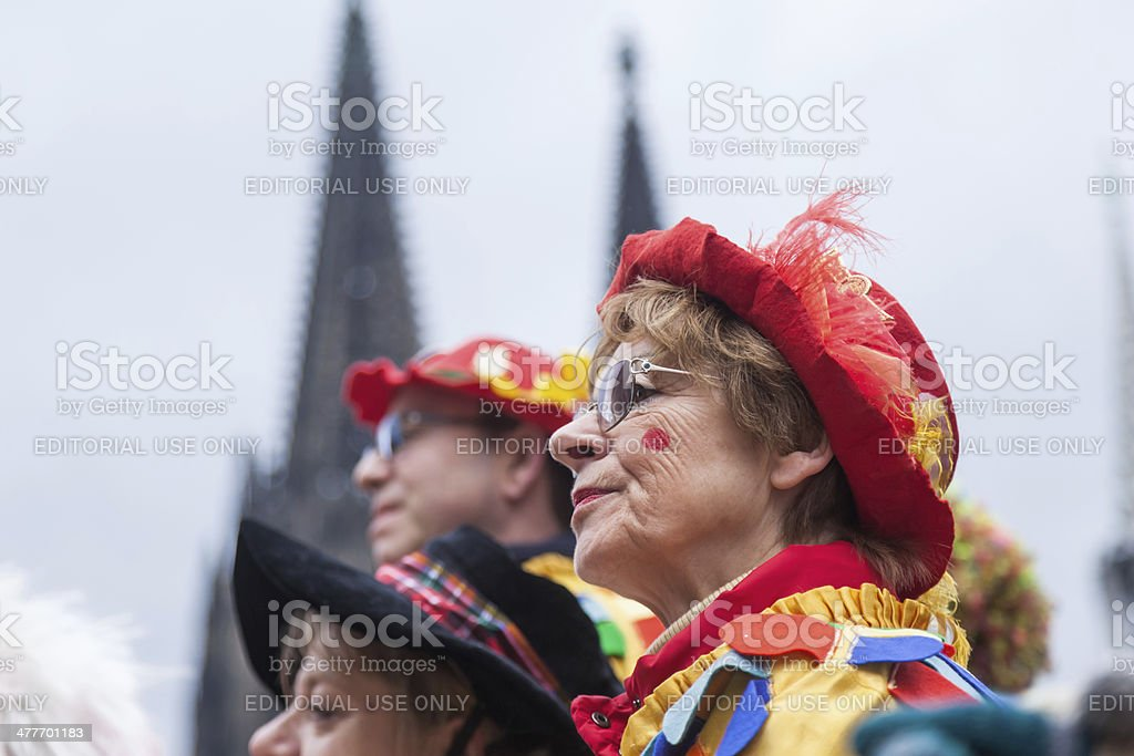 costumed women celebrating carnival stock photo