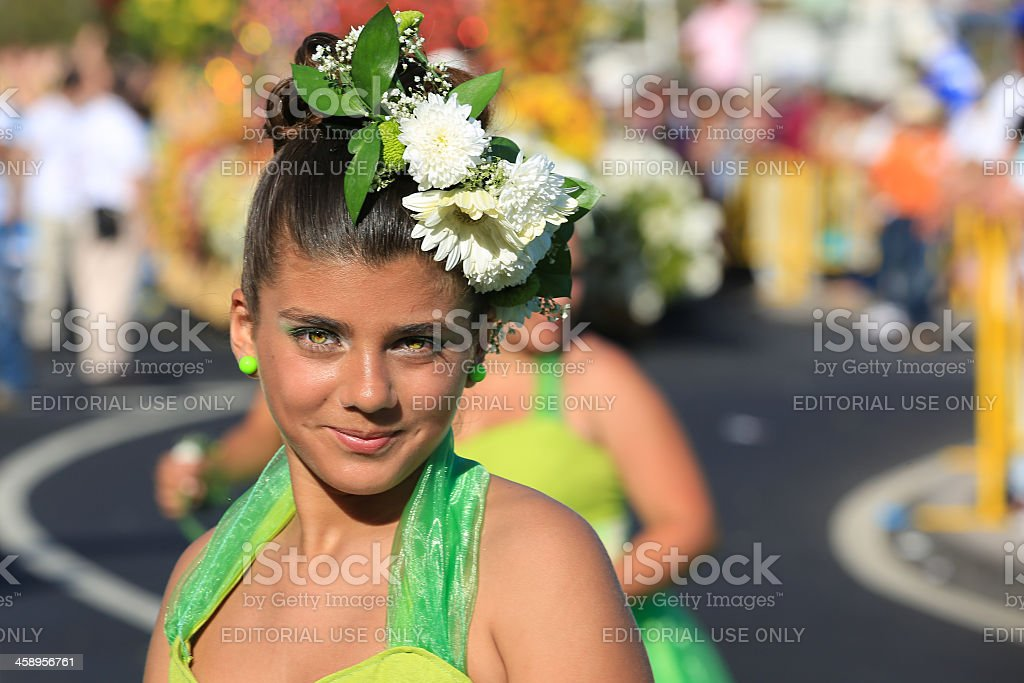 Costumed Young Woman at Madeira Flower Festival Parade, Portugal stock photo