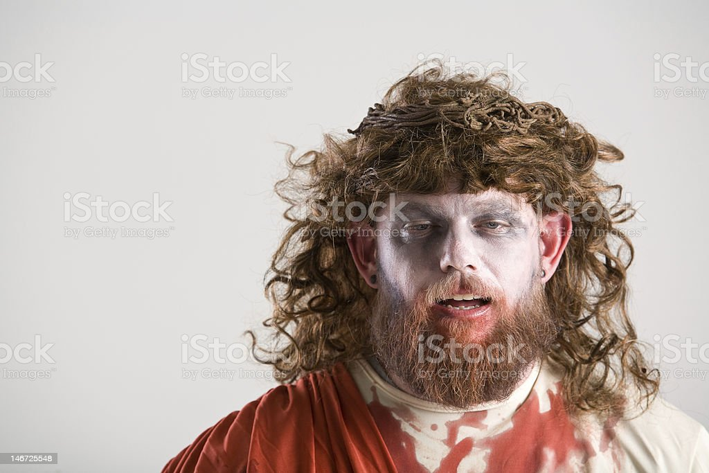 costumed zombie jesus for halloween royalty-free stock photo
