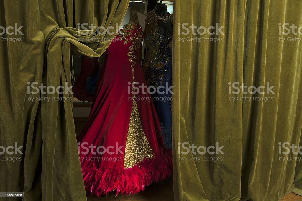 Costumes actresses on mannequins in behind the scenes stock photo