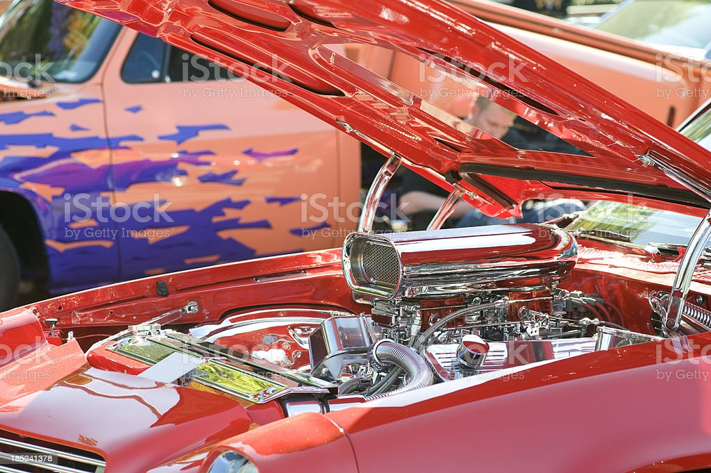 Costumized V8 Engine of a muscle car stock photo