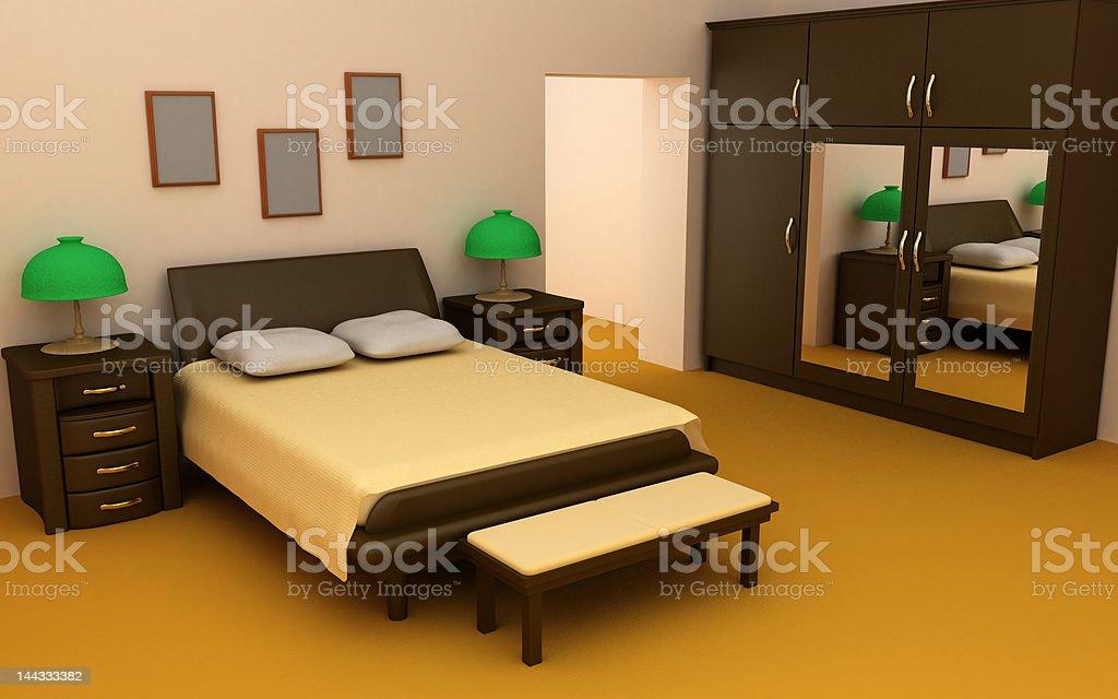 cosy bedroom interior 3d royalty-free stock photo