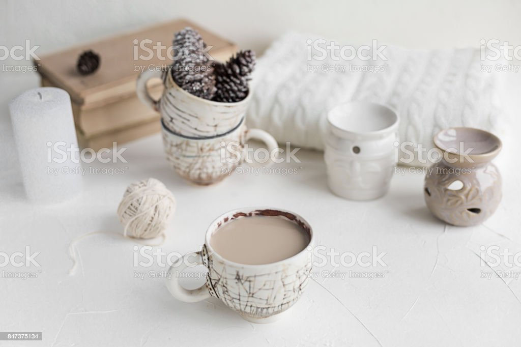 Cosy Breakfast with coffee and milk. Life style concept. stock photo