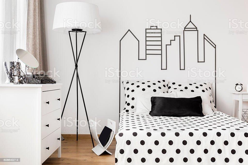 Cosy corner of woman's bedroom stock photo
