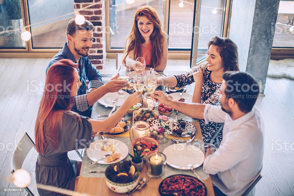 Cosy evening with friends stock photo