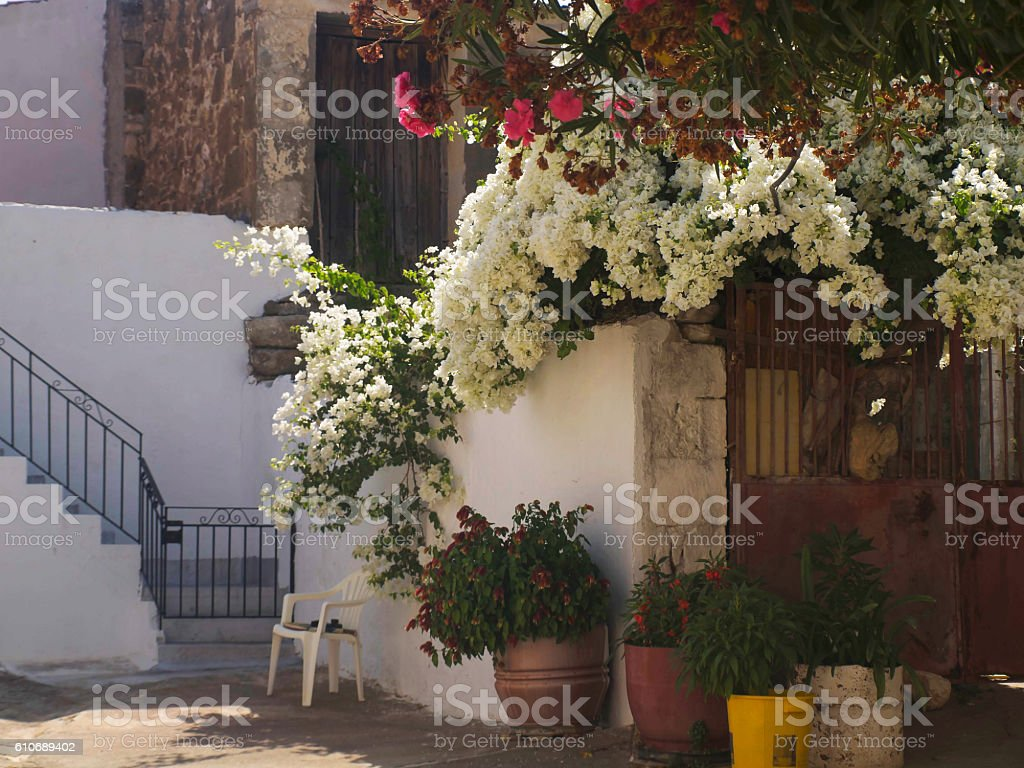 cosy Greek patio Crete stock photo