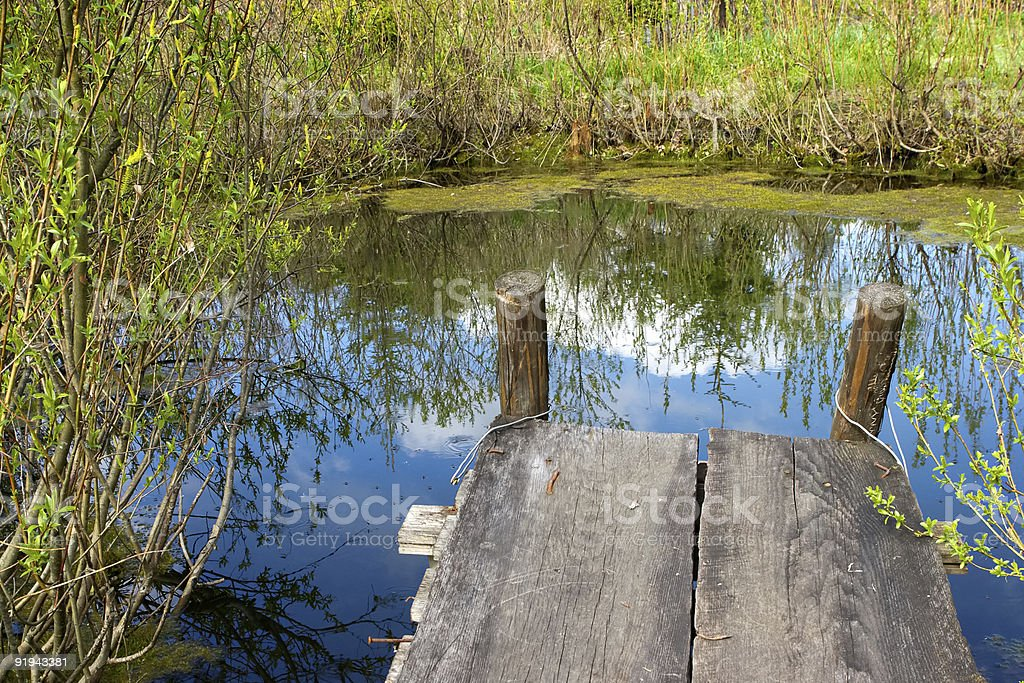 Cosy nook at a spring pond royalty-free stock photo