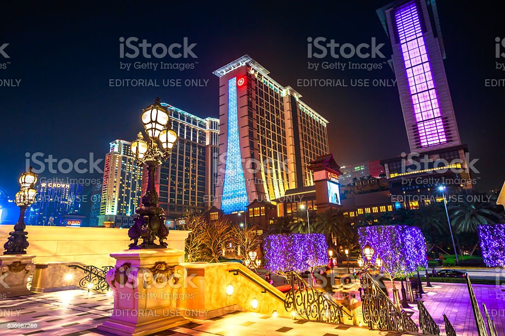 Cotai Strip Macau night stock photo