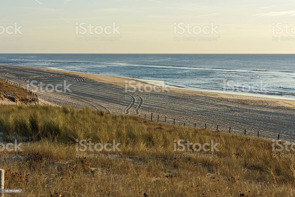 Cote d'Argent - beach with dunes in the evening sun stock photo