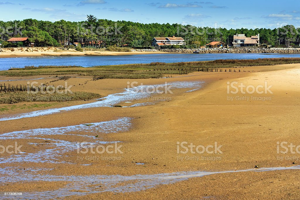 Cote d'Argent: Ebb tide in the courant of Mimizan Plage stock photo