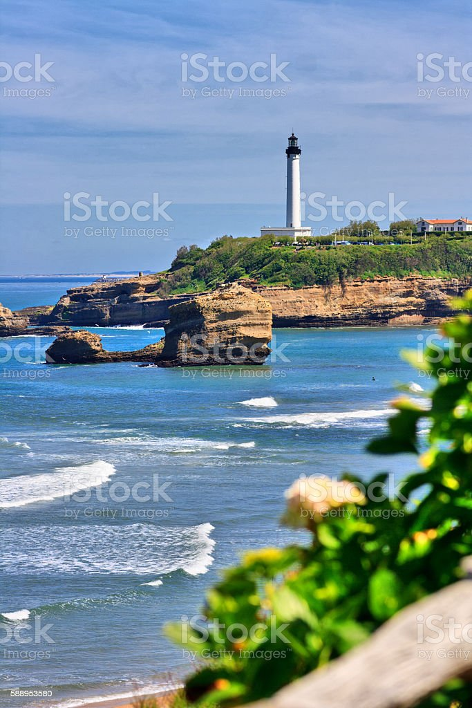 Cote d'Argent - The main beach of Biarritz with lighthouse stock photo