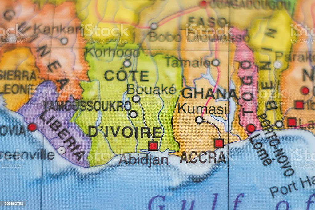 Cote Divoire country map . stock photo