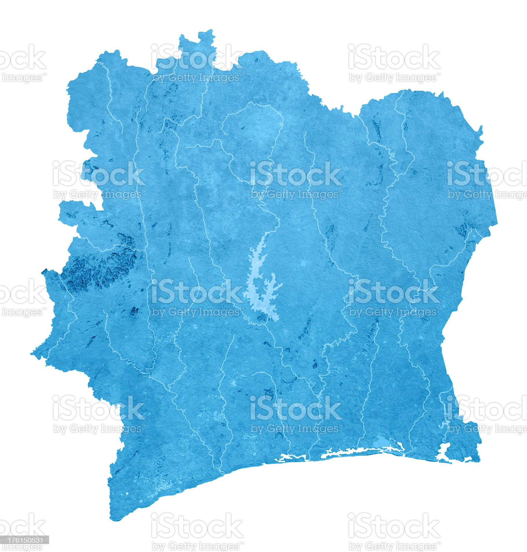Cote d'Ivoire Topographic Map Isolated royalty-free stock photo
