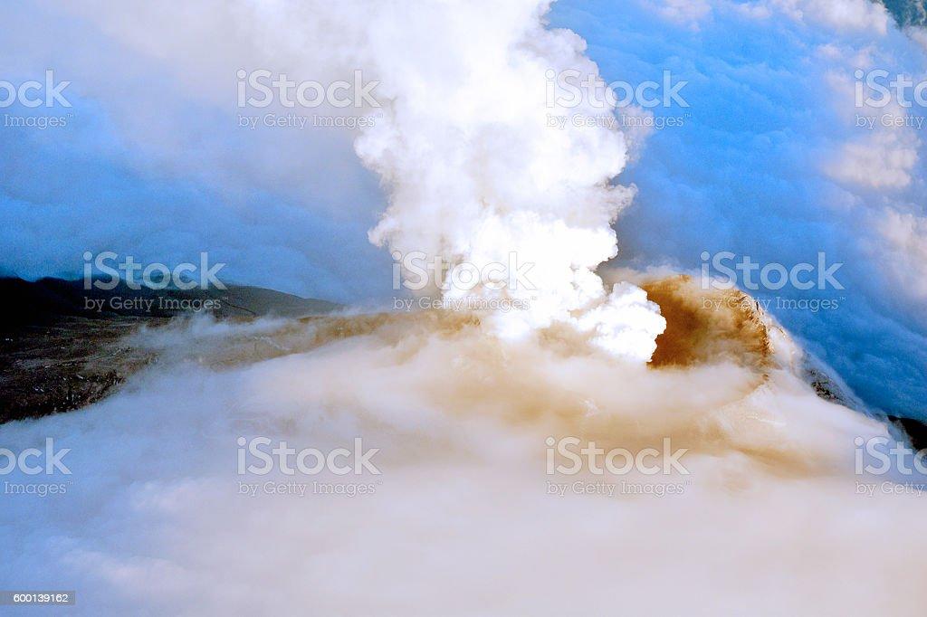 Cotopaxi volcano erupting 5897 meters above sea level stock photo