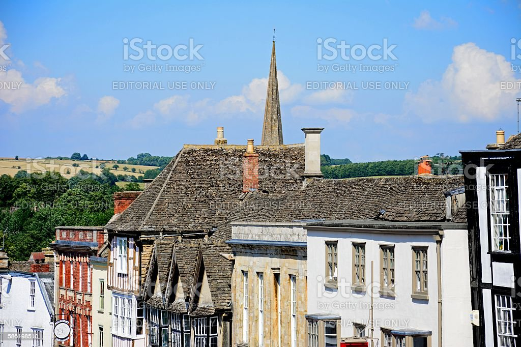 Cotswold buildings along The Hill, Burford. stock photo