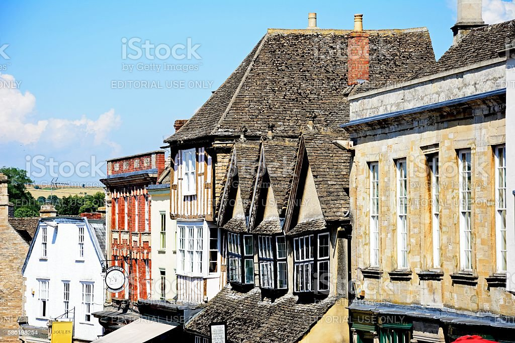 Cotswold buildings, Burford. stock photo