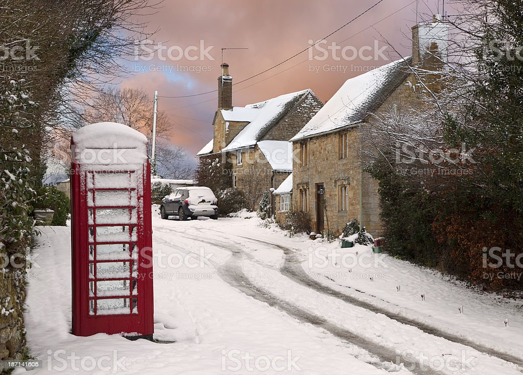 Cotswold cottages in snow stock photo