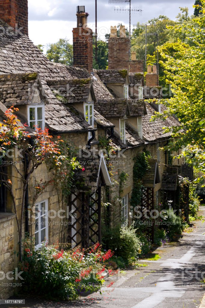 Cotswold cottages in Winchcombe, Gloucestershire, UK. stock photo
