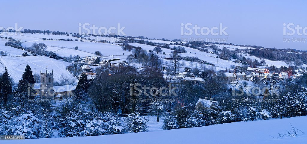Cotswold snow panorama royalty-free stock photo