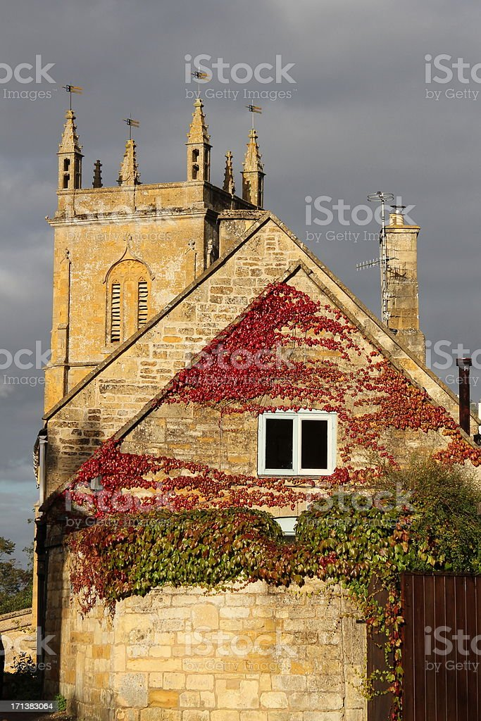 Cotswold stone buildings stock photo