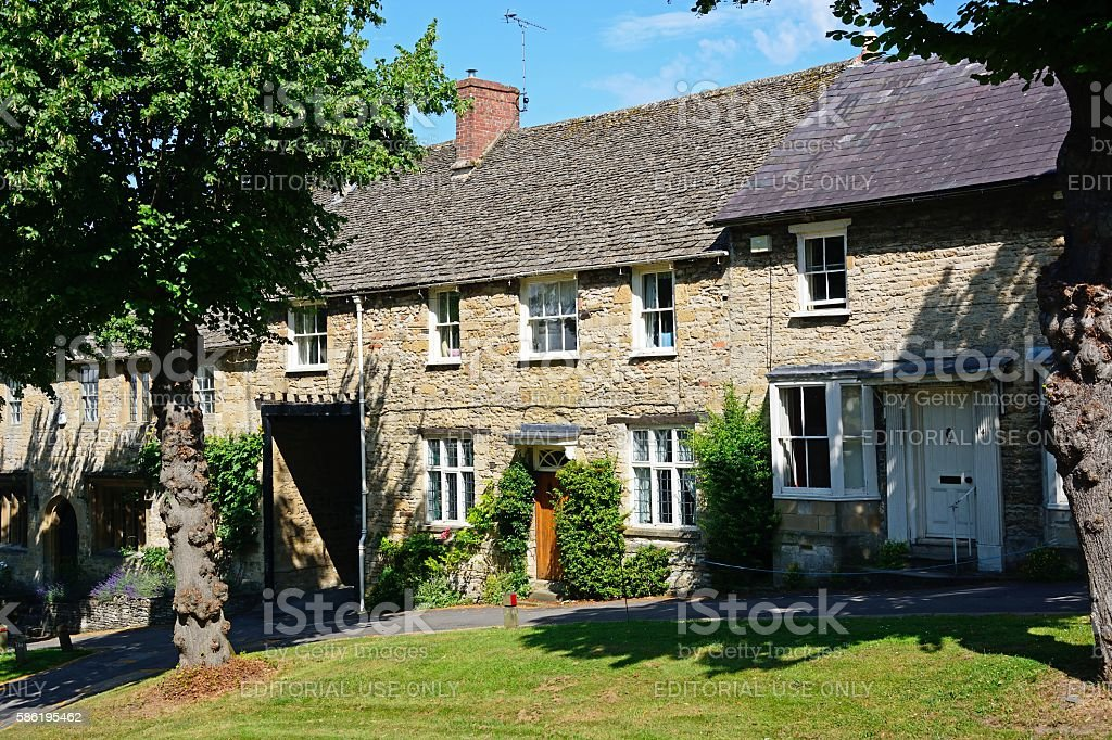 Cotswold stone cottages, Burford. stock photo