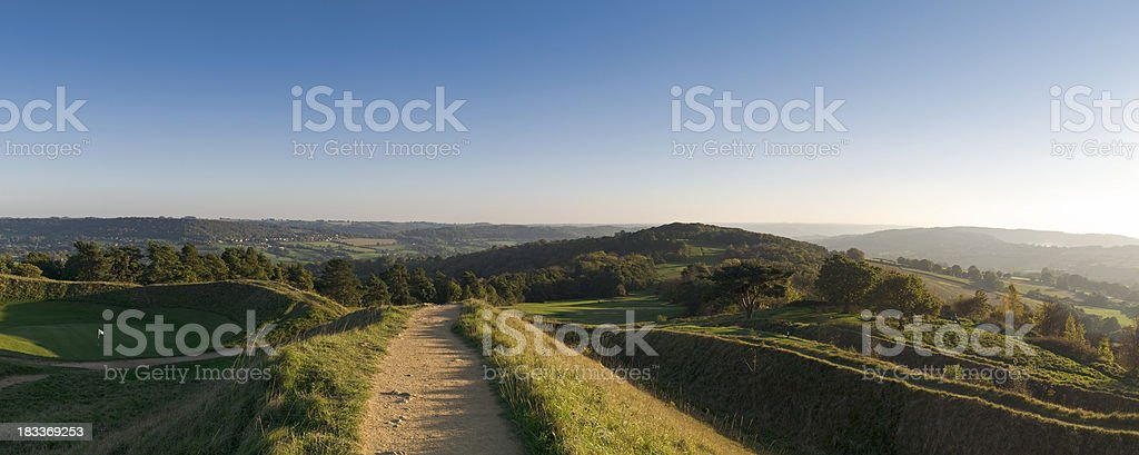 Cotswold summer afternoon panorama stock photo