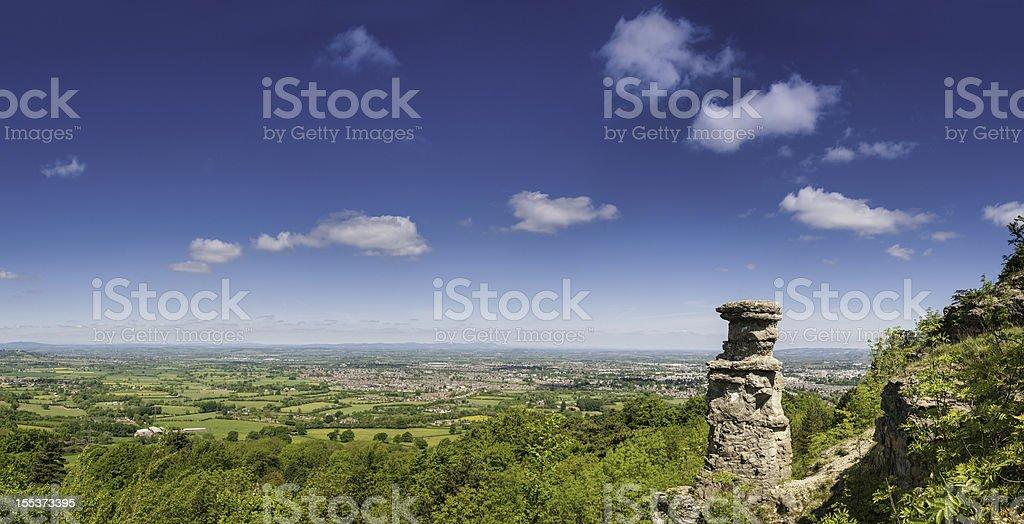 Cotswold summer landscape above Cheltenham UK stock photo
