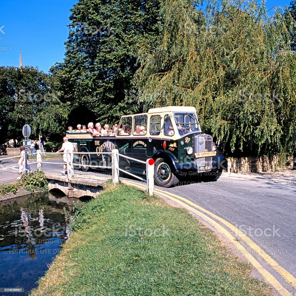 Cotswold tour bus, Lower Slaughter. stock photo