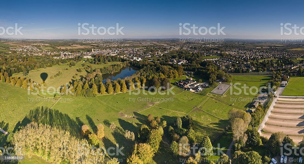 Cotswold town aerial panorama stock photo