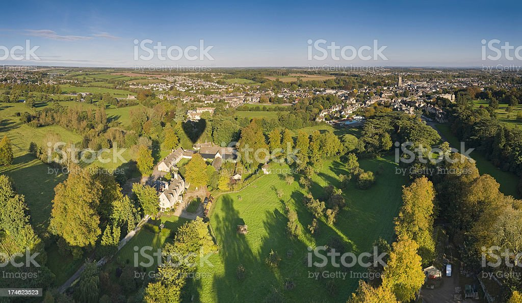 Cotswold town aerial vista sunset stock photo