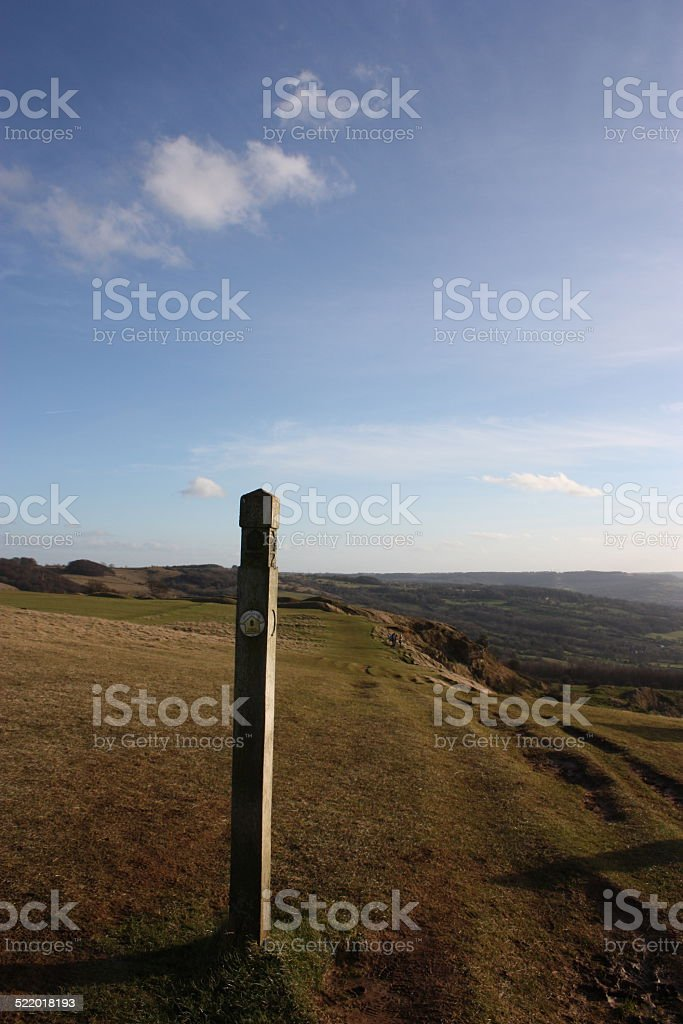Cotswold Way on Cleeve Hill looking South West. stock photo