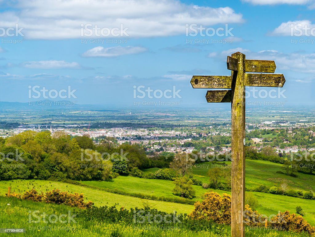 Cotswold way panorama across green fields stock photo